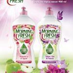 Morning Fresh – Sweet Pea & Freesia oraz Raspberry & Apple  Nowe, skoncentrowane płyny do mycia naczyń